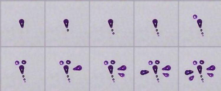 А так можно нарисовать стрекозу на ногте.