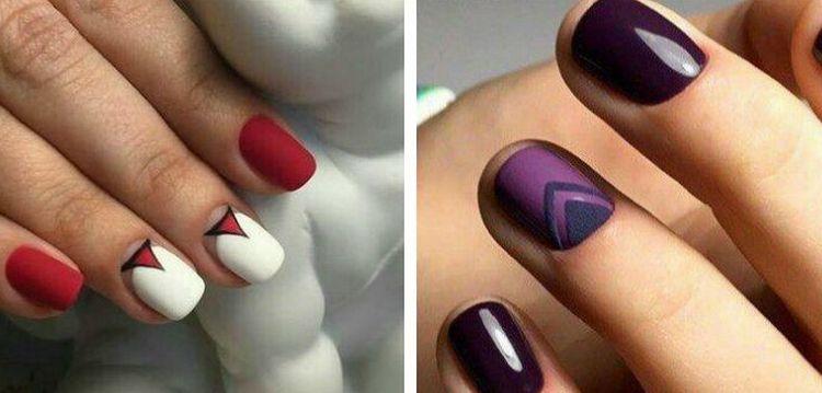 Вот еще один интересный вариант дизайна шеллаком на короткие ногти.