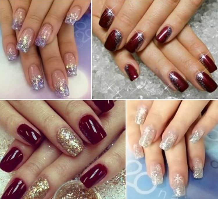 Посмотрите также фото дизайна ногтей шеллаком с блестками.