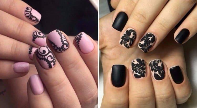 Черные кружевные узоры на ногтях выглядят просто восхитительно.
