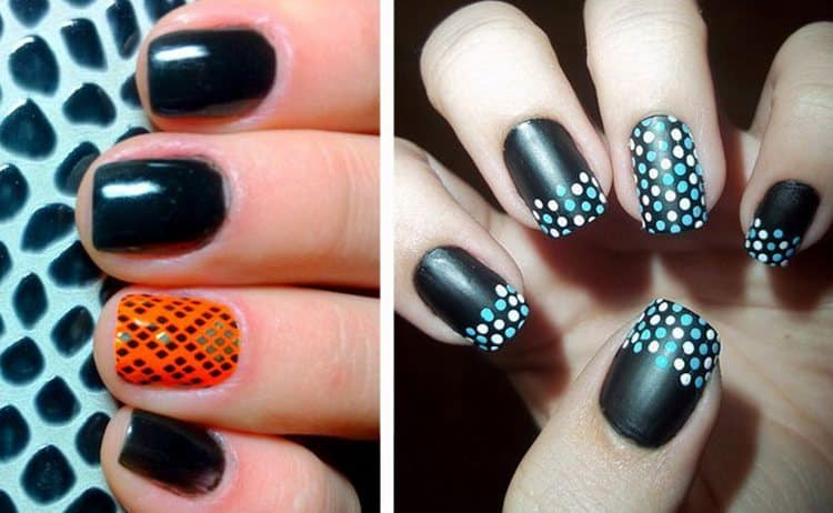 В дизайне ногтей используется и черный шеллак.