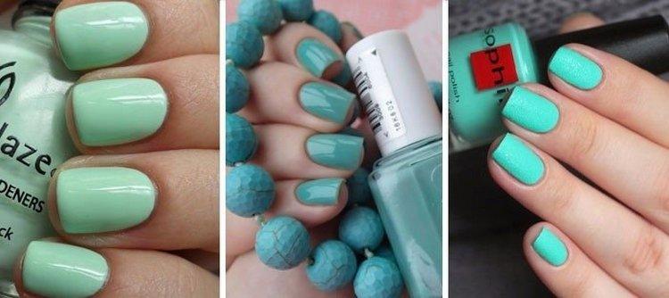В дизайне ногтей очень актуальным в этом сезоне является мятный шеллак.