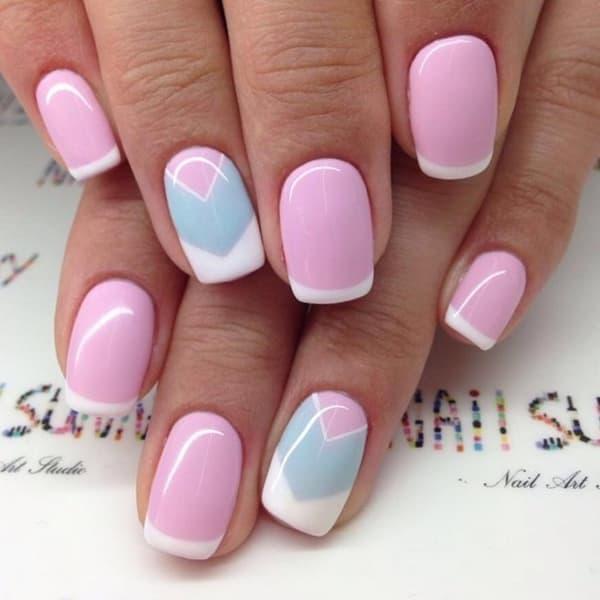 В дизайне ногтей можно удачно использовать и нежный розовый шеллак.