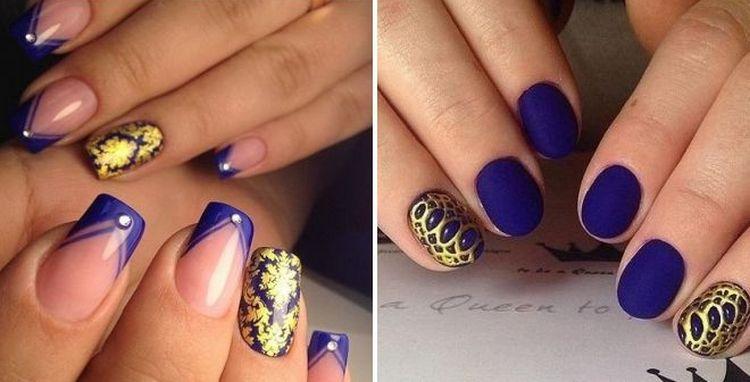 Модный также дизайн ногтей синий с золотом.
