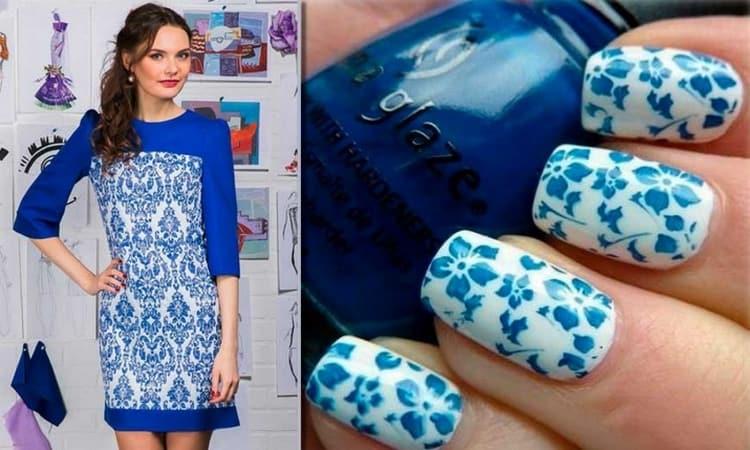 А вот красивое дополнение к принту платья прямо на ногтях.