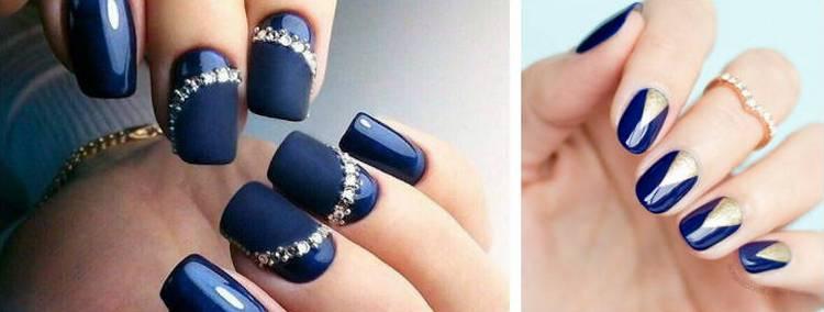 А вот дизайн темно-синих ногтей.