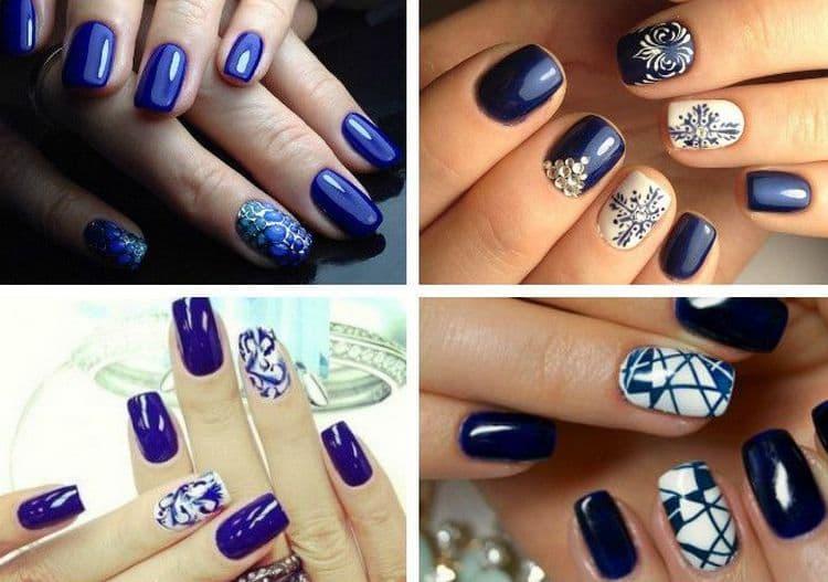 Дизайн ногтей с синим лаком можно дополнить стразами с рисунками.