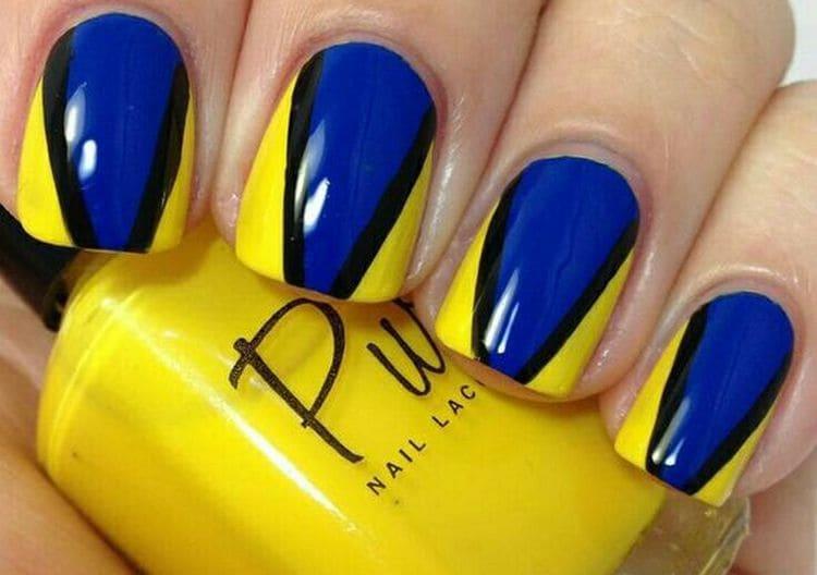 А вот еще один красивый дизайн ногтей в сине-желтом цвете.