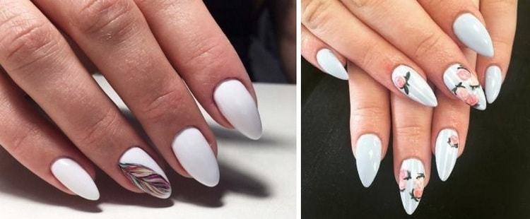 А вот красивые фото дизайна белых острых ногтей.