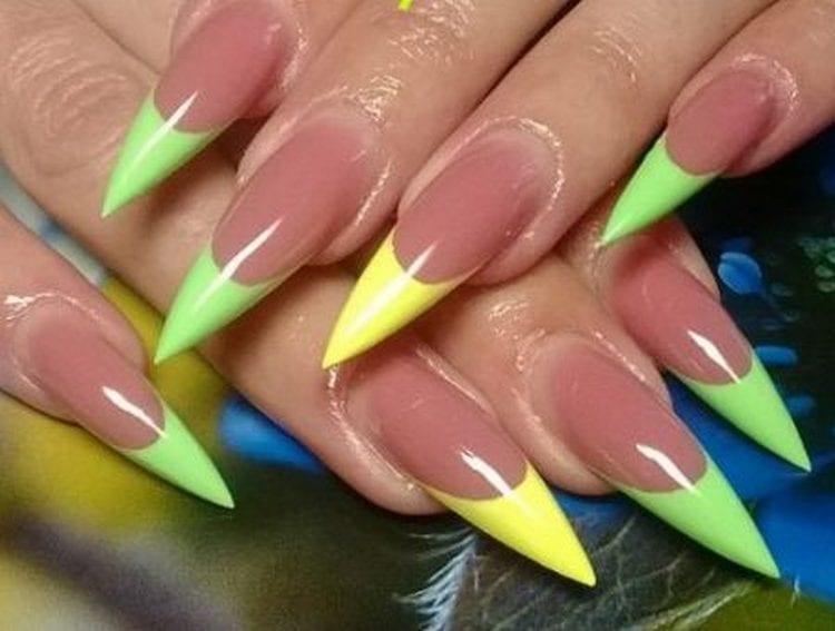 Вот оригинальный летний дизайн острых ногтей.