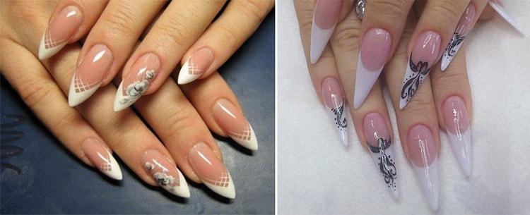 Френч на острой форме ногтей можно органично дополнить рисунком.