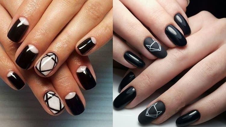 Большой популярностью пользуются геометрические рисунки на ногтях.