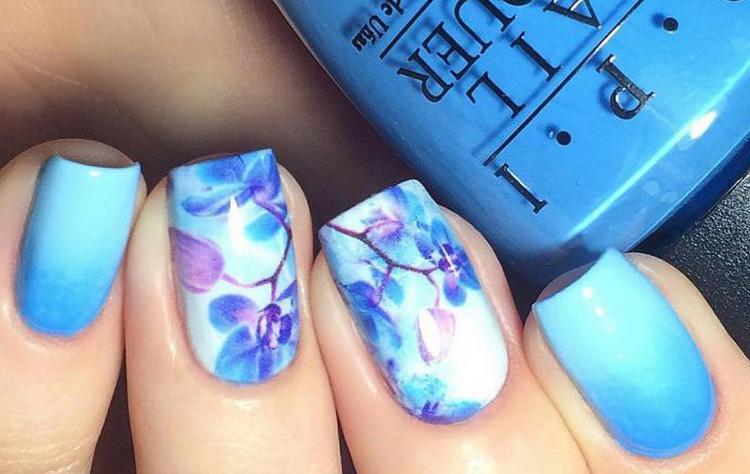 Красивые рисунки на акцентных ногтях.
