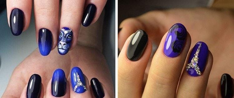 Для насыщенного омбре на ногтях хорошо подходит синий цвет.