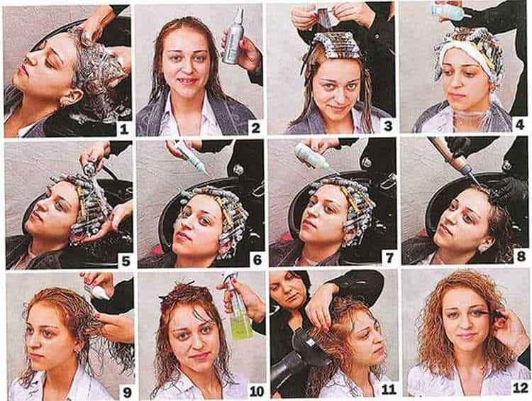 Посмотрите, как укладывать химию на средних волосах.