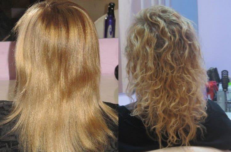 Посмотрите фото до и после мокрой химии на средние волосы.