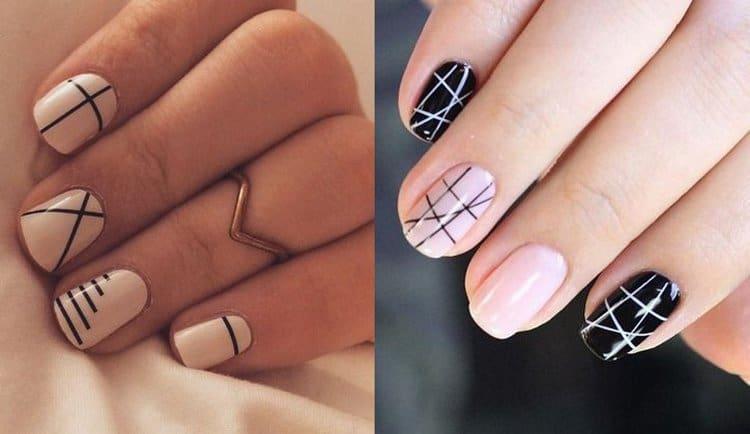Полоски на ногтях можно делать даже очень тоненькими.