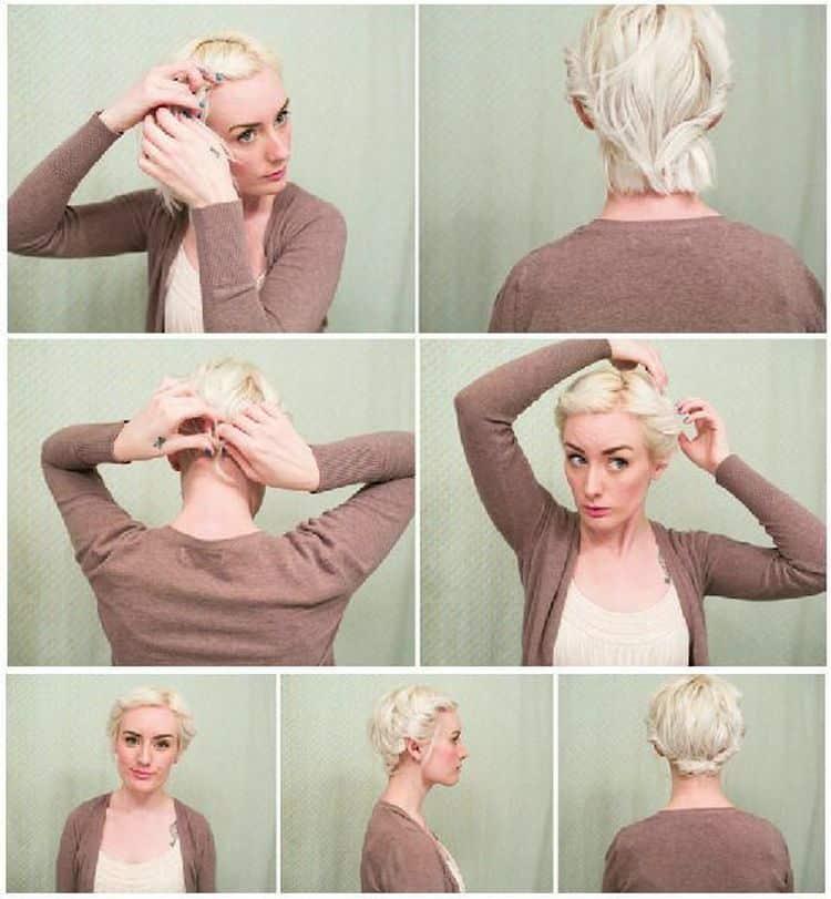 Простые прически на короткие волосы можно легко сделать даже с плетением.