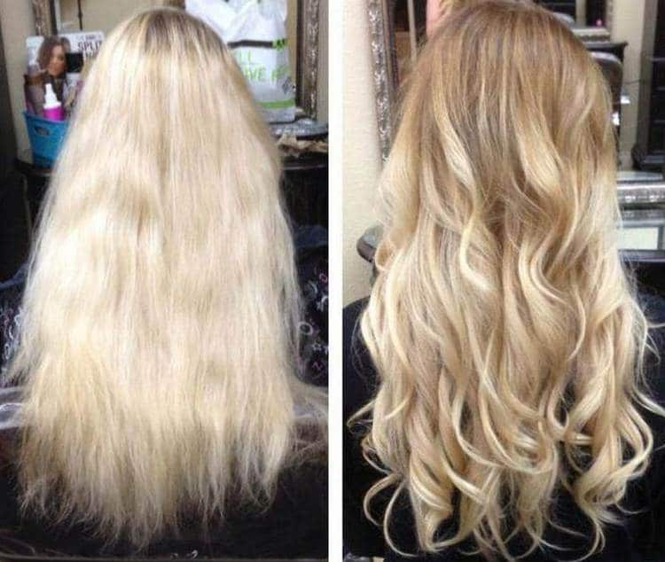Посмотрите фото до и после колорирования светлых волос.