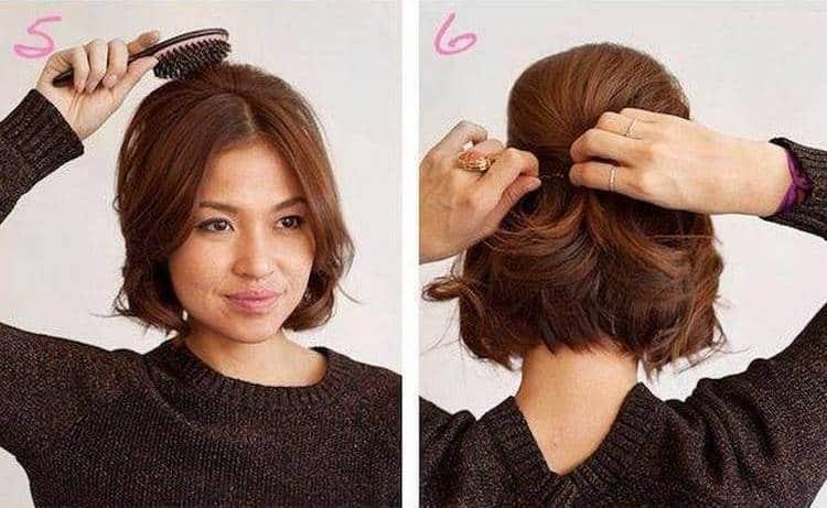 Аккуратно скрепляем волосы при помощи шпилек.