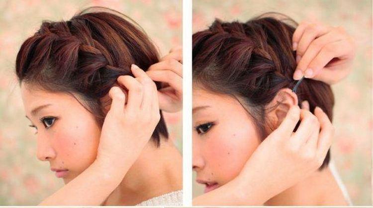 Посмотрите, как сделать легкую прическу на короткие волосы.