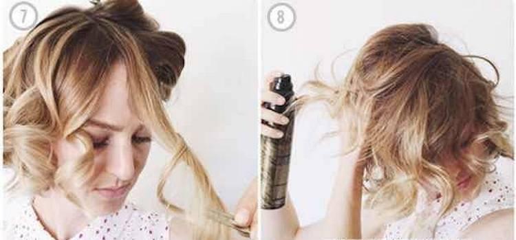 Фиксируем лаком прическу легкая волна на короткие волосы.