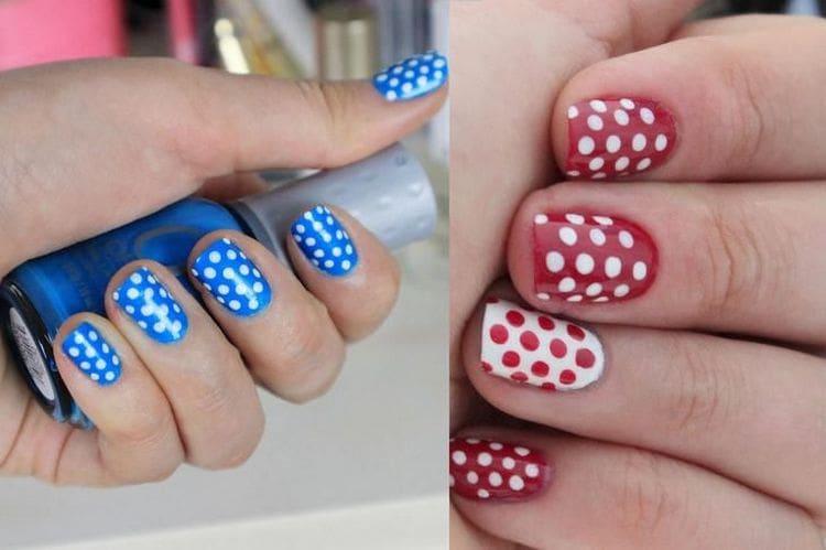 Самые легкие узоры для дизайна ногтей это точки.