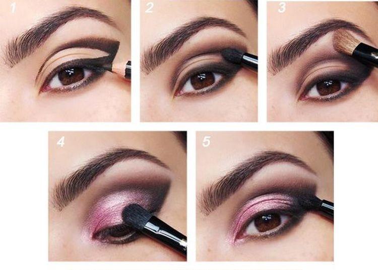 Розовые тени можно удачно сочетать с темными.