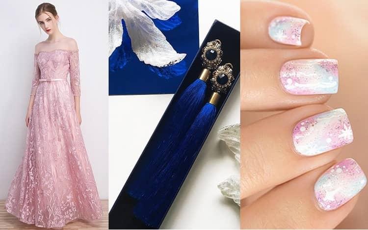 Нежный вариант розового космического маникюра будет хорошо сочетаться с длинными романтическими платьями.