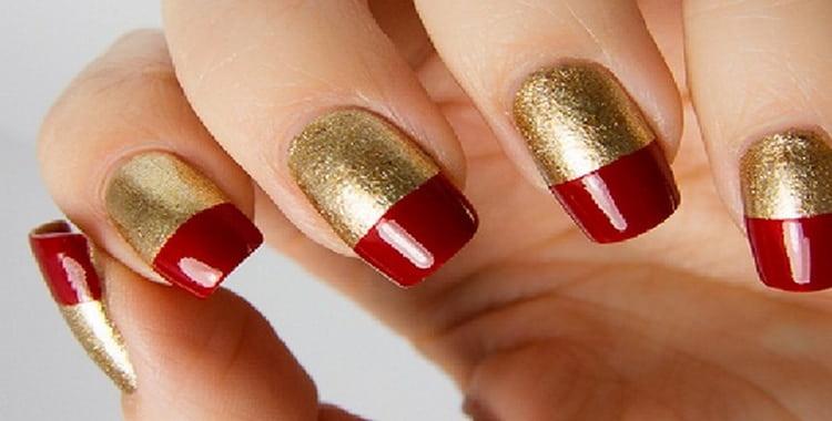 А вот еще фото красивого красного маникюра с золотом.