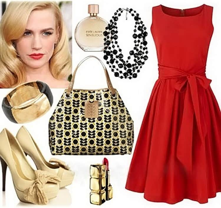 К красно-золотистому маникюру подойдет красное платье и золотые аксессуары и украшения.