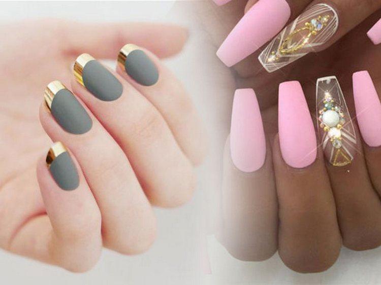 Матовый дизайн актуален и при наращивании ногтей.