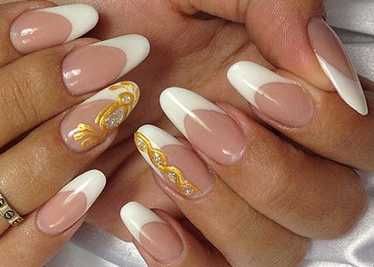 Как делать белый френч с золотом дизайн ногтей