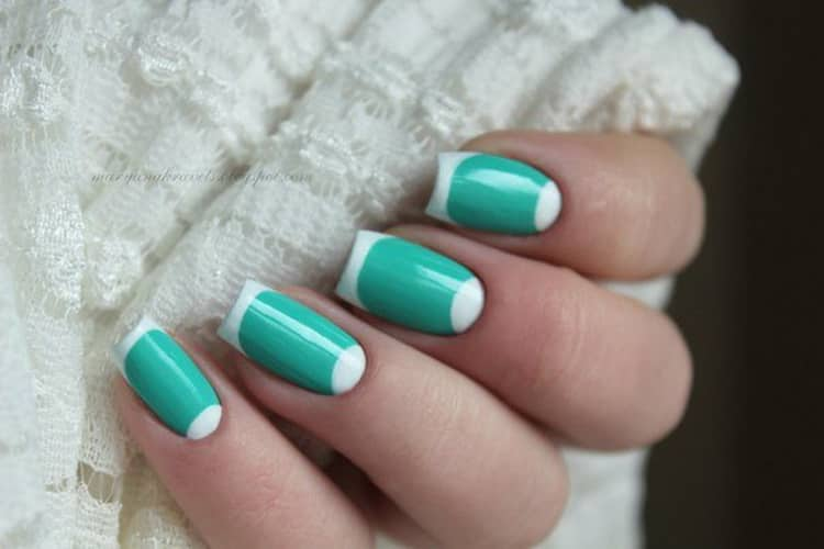 Как сделать белый френч на круглых ногтях