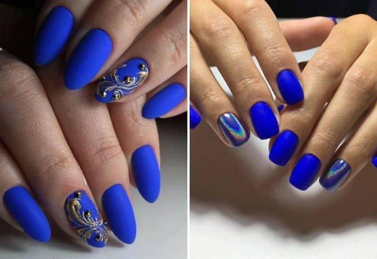 А вот модный синий маникюр.