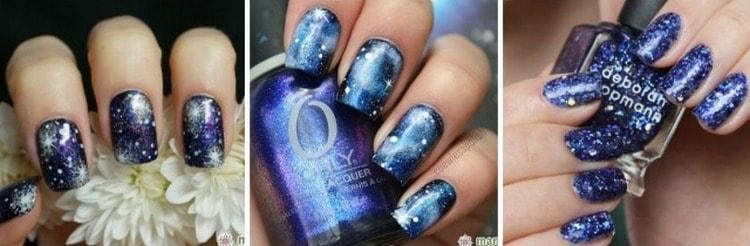 Стильно выглядят и космические варианты дизайна ногтей.