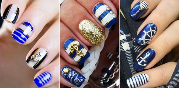 Посмотрите на фото новинки морского дизайна ногтей.