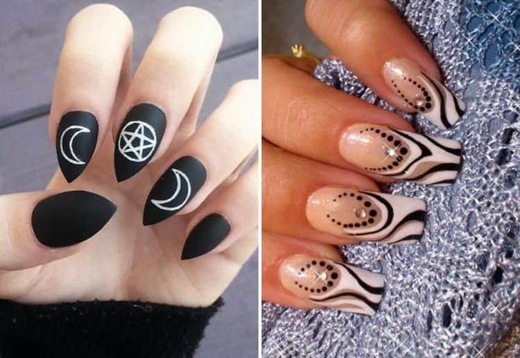 Для нарощенных ногтей можно также выбрать более яркий дизайн.