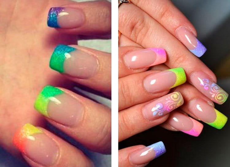 А вот разноцветный френч на нарощенных ногтях.