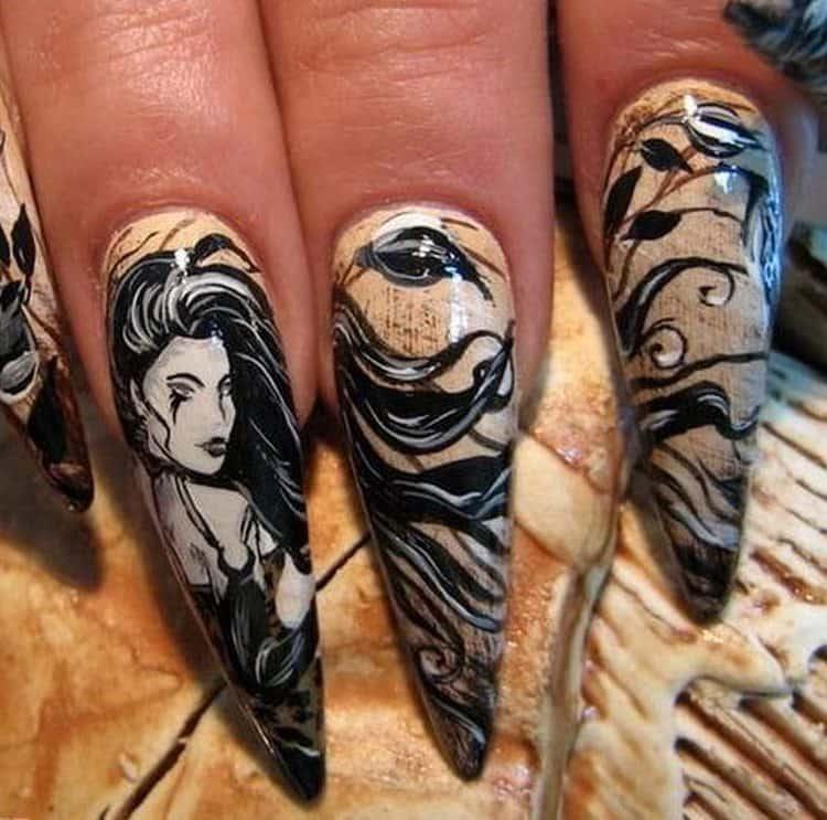 А вот фото дизайна ногтей при наращивании гелем.