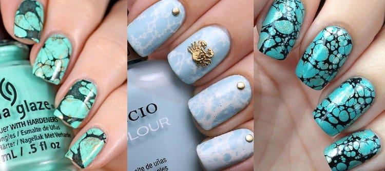Стильный мрамор на ногтях.