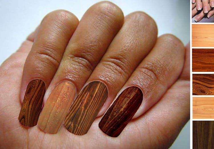 """очень оригинальные """"деревянные"""" ногти."""