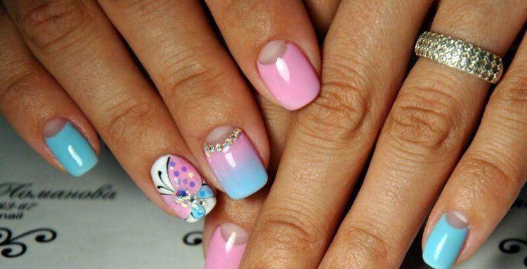 А вот еще один летний нежный дизайн ногтей.