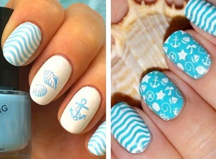 А вот дизайн ногтей в нежно-голубом цвете для моря.