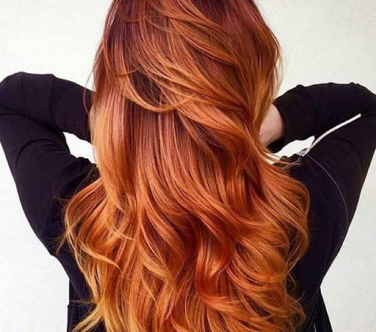 А вот фото окрашивания балаяж на рыжие волосы.