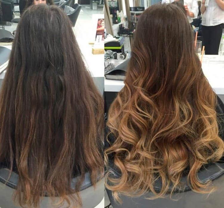 Посмотрите фото до и после окрашивания волос шатуш.