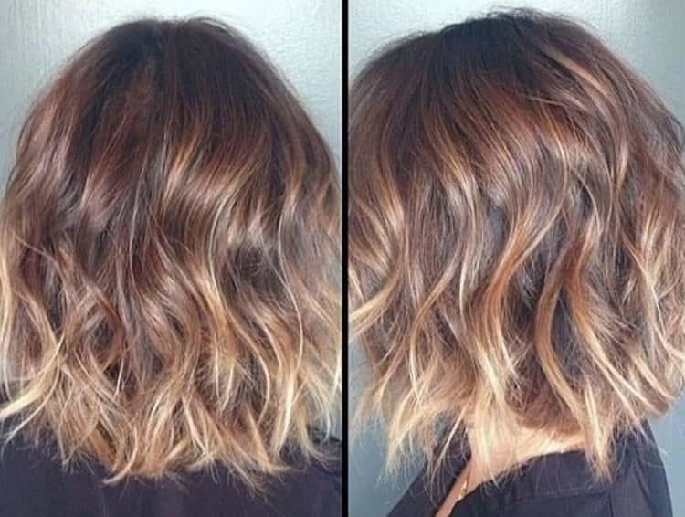 Омбре на короткие русые волосы позволяет также придать прическе нужный объем.