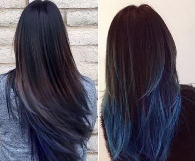 Многим девушкам нравится делать синий градиент на темных волосах.