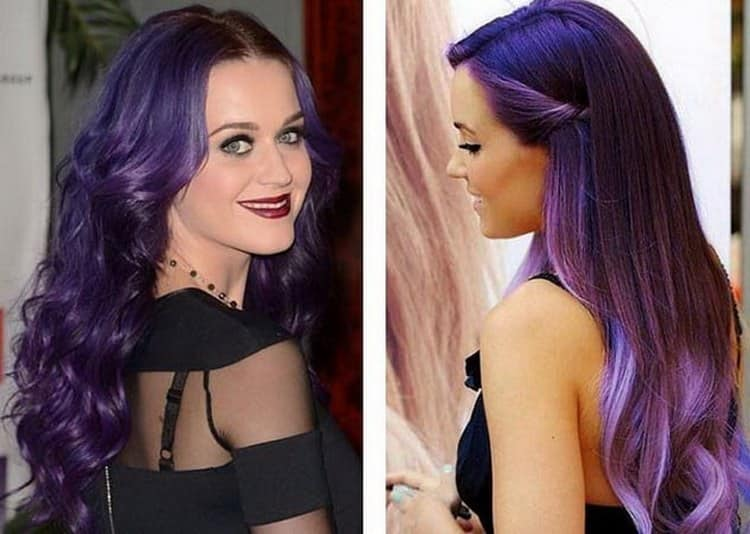 А вот оригинальное фиолетовые омбре на темных волосах.
