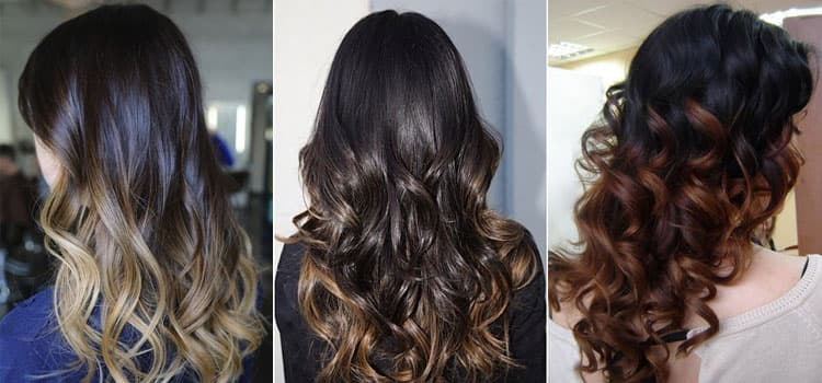 Посмотрите фото окрашивания омбре на темные волосы.